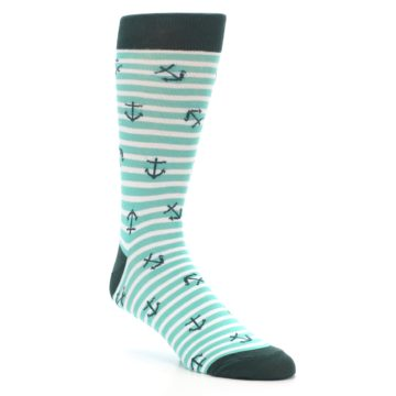 Image of Aqua White Stripes Anchors Men's Dress Socks (side-1-27)