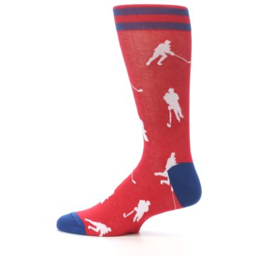 Image of Red White Hockey Player Men's Dress Socks (side-2-12)