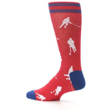 Image of Red White Hockey Player Men's Dress Socks (side-2-13)