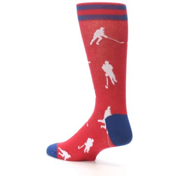 Image of Red White Hockey Player Men's Dress Socks (side-2-back-14)