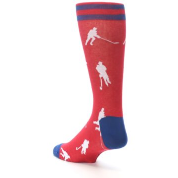 Image of Red White Hockey Player Men's Dress Socks (side-2-back-15)