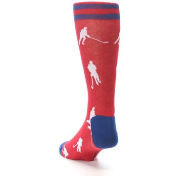 Image of Red White Hockey Player Men's Dress Socks (side-2-back-16)