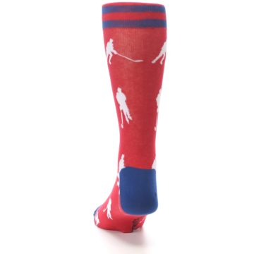 Image of Red White Hockey Player Men's Dress Socks (back-17)
