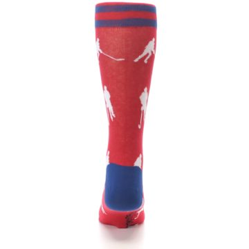 Image of Red White Hockey Player Men's Dress Socks (back-18)
