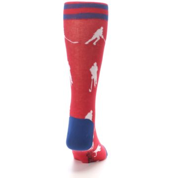 Image of Red White Hockey Player Men's Dress Socks (back-19)