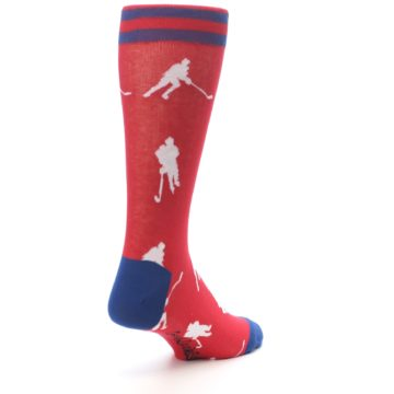 Image of Red White Hockey Player Men's Dress Socks (side-1-back-21)