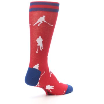 Image of Red White Hockey Player Men's Dress Socks (side-1-back-22)