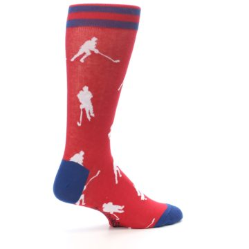 Image of Red White Hockey Player Men's Dress Socks (side-1-23)