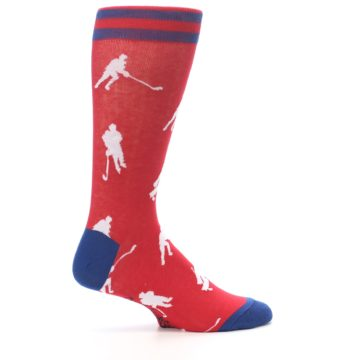 Image of Red White Hockey Player Men's Dress Socks (side-1-24)