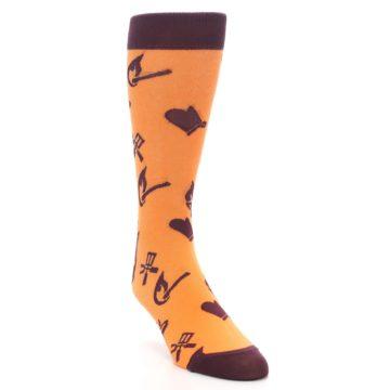 Image of Orange Maroon BBQ Grilling Men's Dress Socks (side-1-front-02)