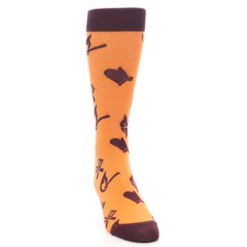 Image of Orange Maroon BBQ Grilling Men's Dress Socks (side-1-front-03)