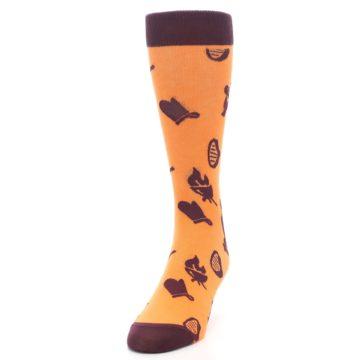 Image of Orange Maroon BBQ Grilling Men's Dress Socks (side-2-front-06)