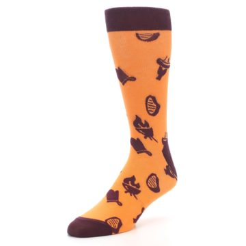 Image of Orange Maroon BBQ Grilling Men's Dress Socks (side-2-front-08)