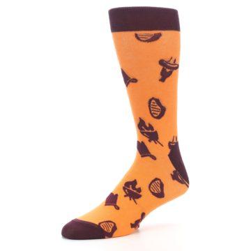 Image of Orange Maroon BBQ Grilling Men's Dress Socks (side-2-09)