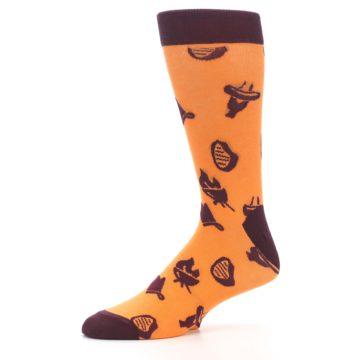 Image of Orange Maroon BBQ Grilling Men's Dress Socks (side-2-10)