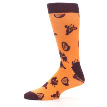 Image of Orange Maroon BBQ Grilling Men's Dress Socks (side-2-11)