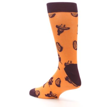 Image of Orange Maroon BBQ Grilling Men's Dress Socks (side-2-back-14)