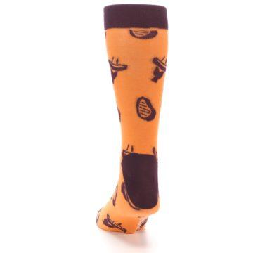 Image of Orange Maroon BBQ Grilling Men's Dress Socks (back-17)