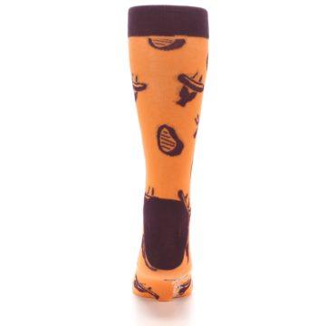 Image of Orange Maroon BBQ Grilling Men's Dress Socks (back-18)