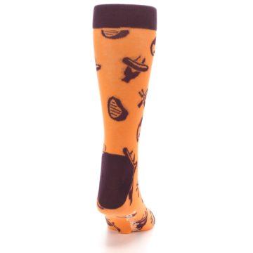 Image of Orange Maroon BBQ Grilling Men's Dress Socks (back-19)