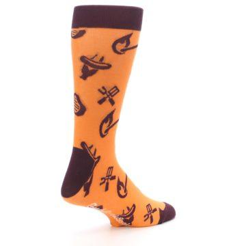 Image of Orange Maroon BBQ Grilling Men's Dress Socks (side-1-back-22)