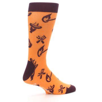 Image of Orange Maroon BBQ Grilling Men's Dress Socks (side-1-23)