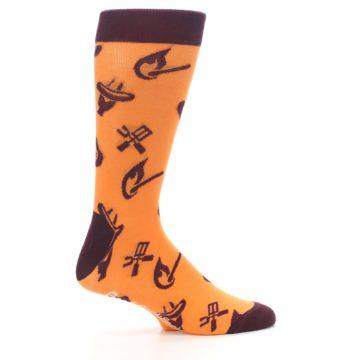 Image of Orange Maroon BBQ Grilling Men's Dress Socks (side-1-24)
