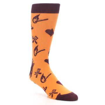 Image of Orange Maroon BBQ Grilling Men's Dress Socks (side-1-27)