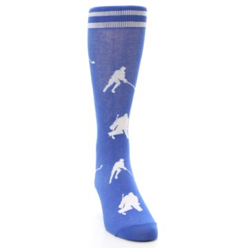 Image of Blue White Hockey Player Men's Dress Socks (side-1-front-03)