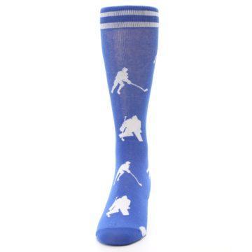 Image of Blue White Hockey Player Men's Dress Socks (front-05)