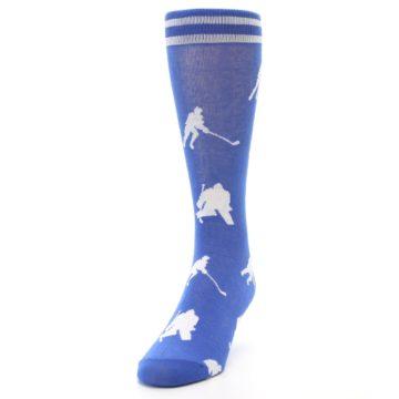 Image of Blue White Hockey Player Men's Dress Socks (side-2-front-06)
