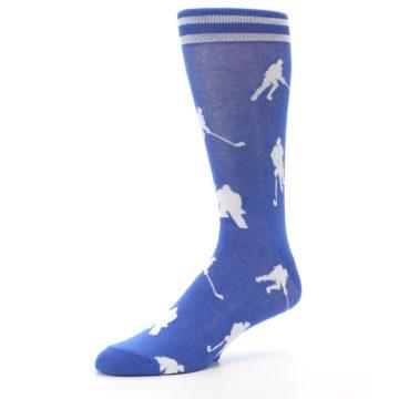 Image of Blue White Hockey Player Men's Dress Socks (side-2-09)