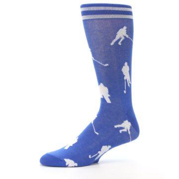 Image of Blue White Hockey Player Men's Dress Socks (side-2-10)