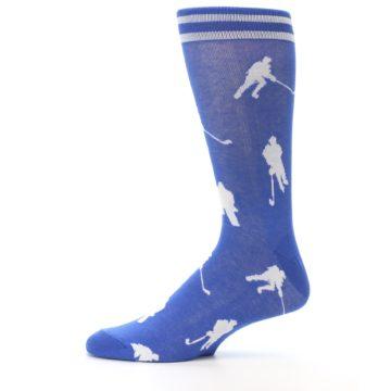 Image of Blue White Hockey Player Men's Dress Socks (side-2-11)