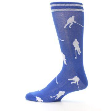 Image of Blue White Hockey Player Men's Dress Socks (side-2-12)