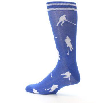 Image of Blue White Hockey Player Men's Dress Socks (side-2-13)