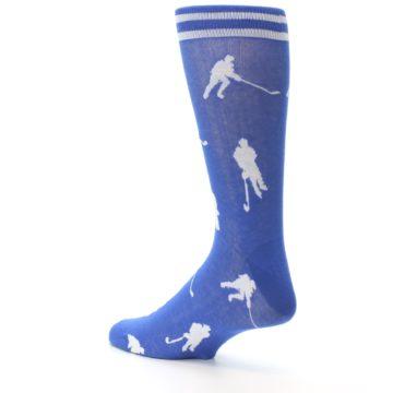 Image of Blue White Hockey Player Men's Dress Socks (side-2-back-14)