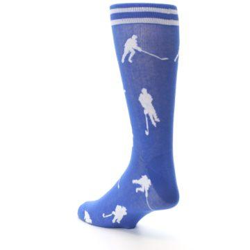 Image of Blue White Hockey Player Men's Dress Socks (side-2-back-15)