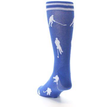Image of Blue White Hockey Player Men's Dress Socks (side-2-back-16)