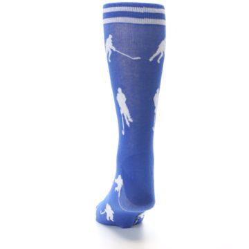 Image of Blue White Hockey Player Men's Dress Socks (back-17)