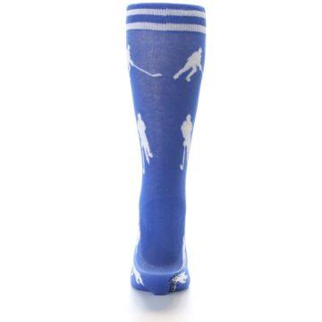 Image of Blue White Hockey Player Men's Dress Socks (back-18)