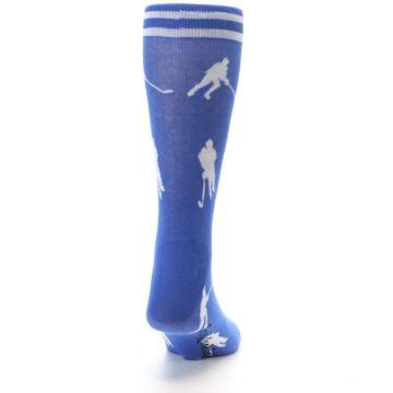 Image of Blue White Hockey Player Men's Dress Socks (back-19)