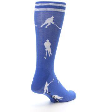 Image of Blue White Hockey Player Men's Dress Socks (side-1-back-21)