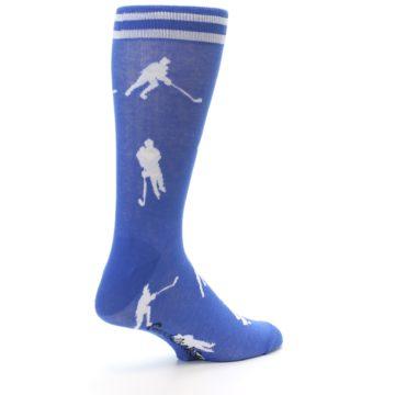 Image of Blue White Hockey Player Men's Dress Socks (side-1-back-22)