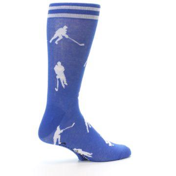 Image of Blue White Hockey Player Men's Dress Socks (side-1-23)