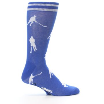 Image of Blue White Hockey Player Men's Dress Socks (side-1-24)