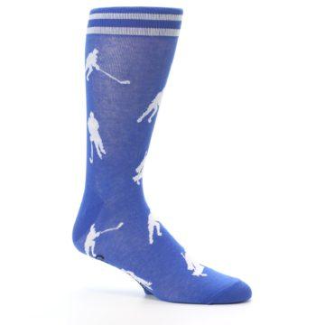 Image of Blue White Hockey Player Men's Dress Socks (side-1-25)