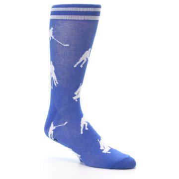 Image of Blue White Hockey Player Men's Dress Socks (side-1-26)