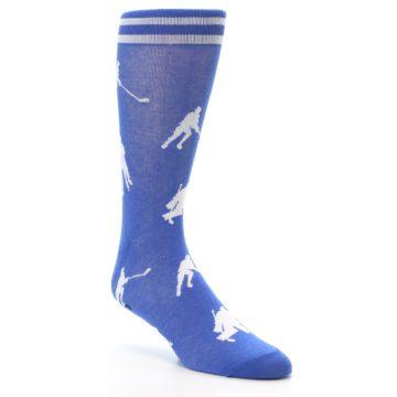 Image of Blue White Hockey Player Men's Dress Socks (side-1-27)