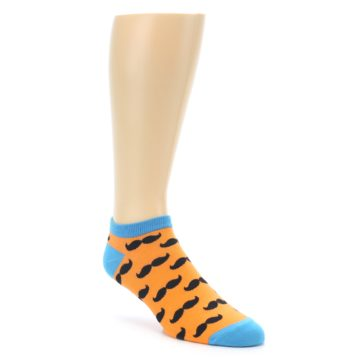 Orange Black Mustache Ankle Socks for Men